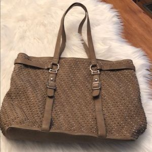 ASH LEATHER BAG TAN  STUDS LARGE DOUBLE STRAPS
